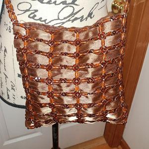 Handbags - BROWN BEAD & SATIN RIBBON CROSS BODY HANDBAG